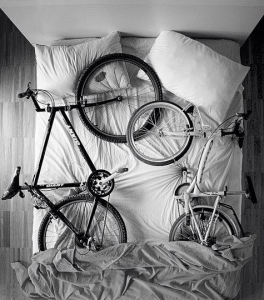 2 bikes in bed